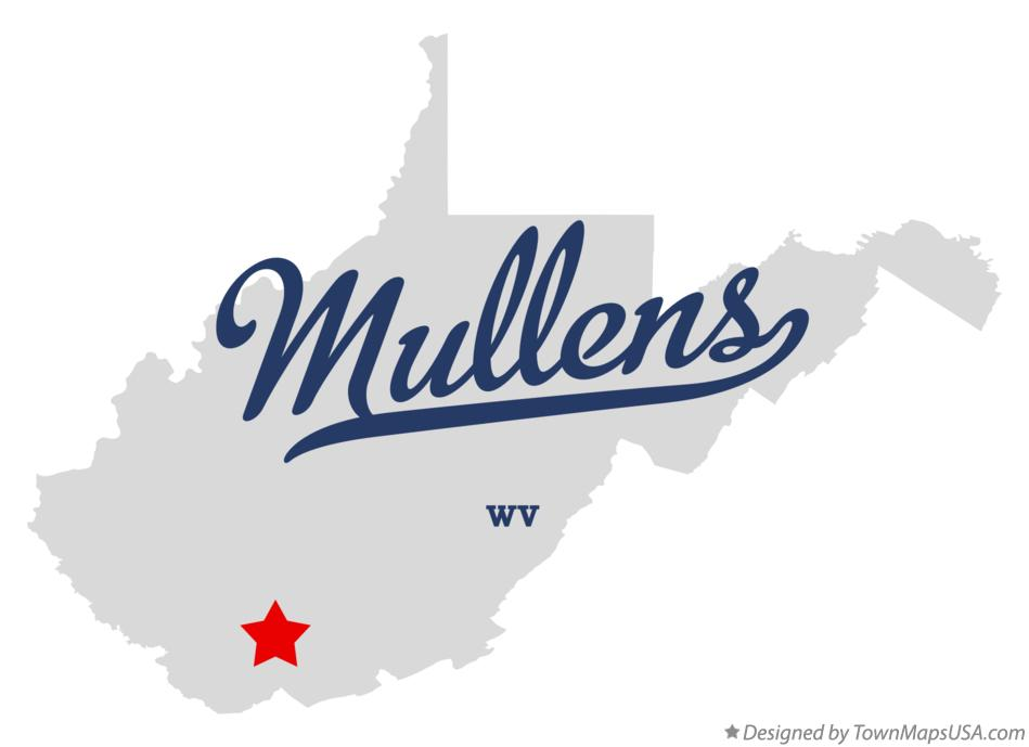 Map of Mullens West Virginia WV