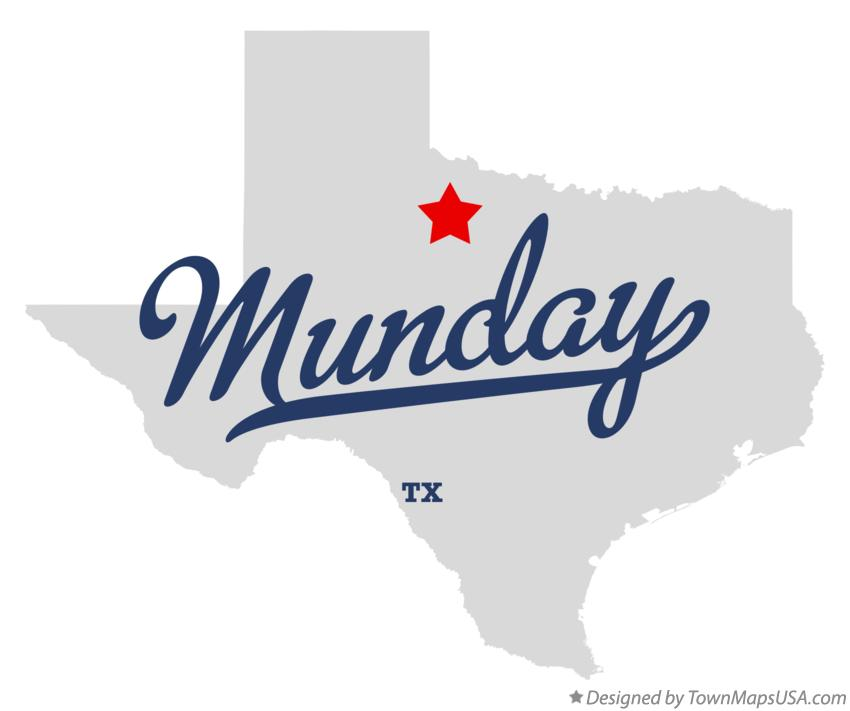Map of Munday Texas TX