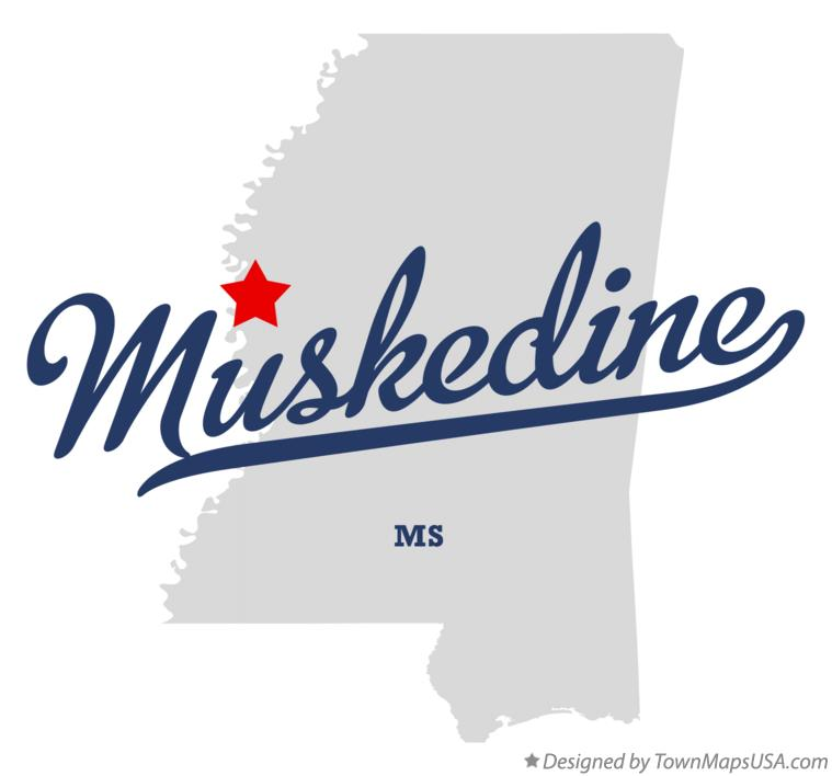 Map of Muskedine Mississippi MS
