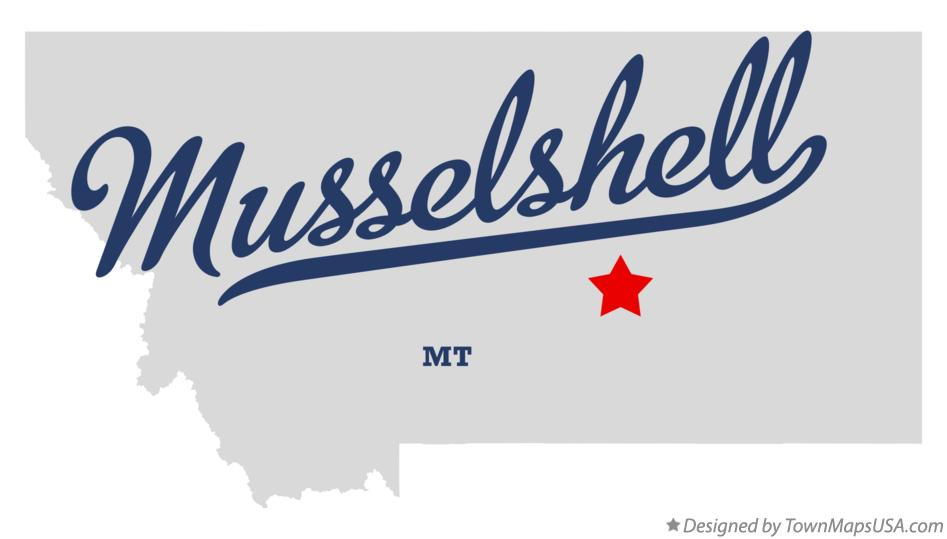 Map of Musselshell Montana MT