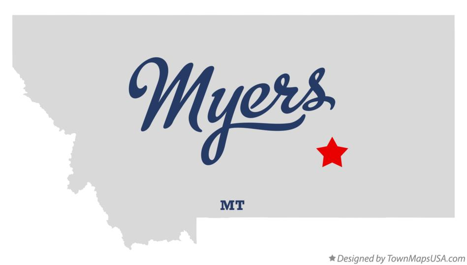 Map of Myers Montana MT
