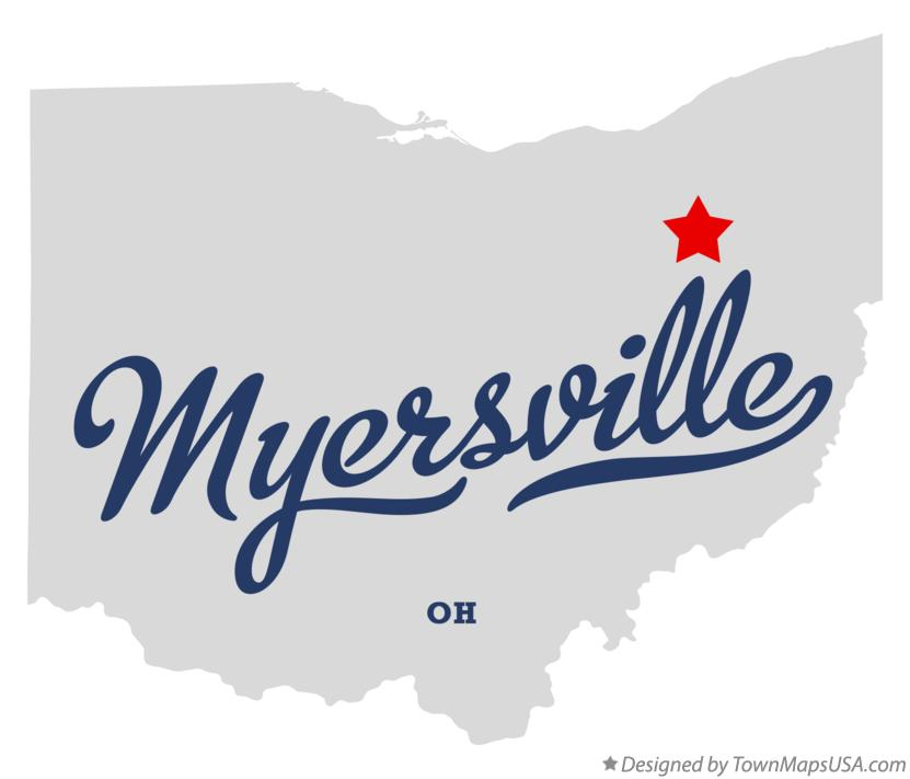 Map of Myersville Ohio OH