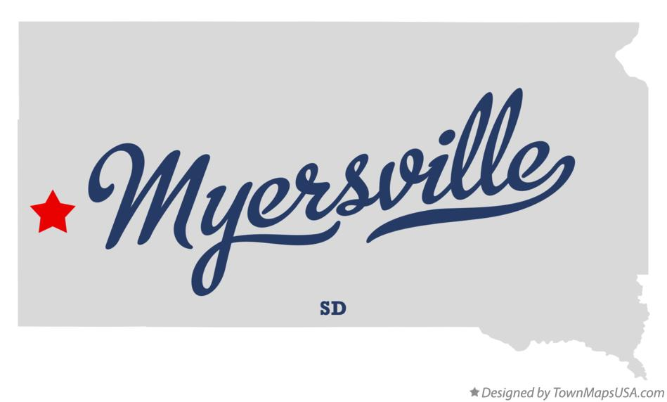 Map of Myersville South Dakota SD