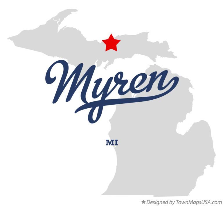 Map of Myren Michigan MI