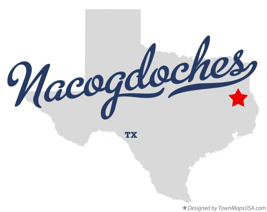 Map of Nacogdoches Texas TX