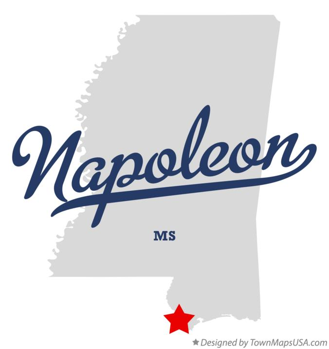 Map of Napoleon Mississippi MS