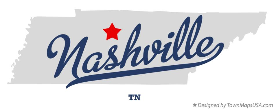 Map of Nashville, TN, Tennessee
