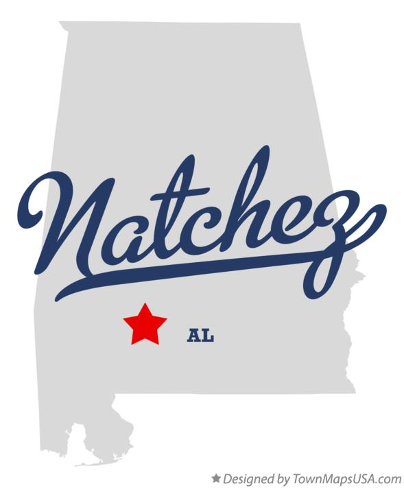 Map of Natchez Alabama AL