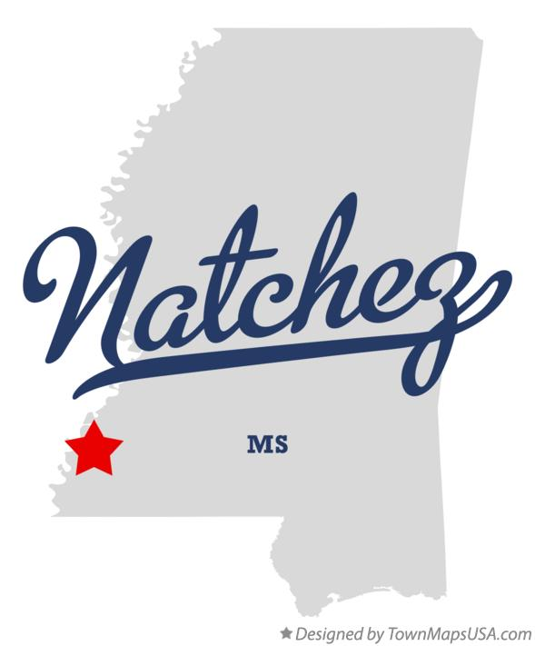 Map of Natchez Mississippi MS