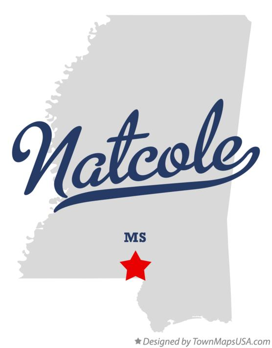 Map of Natcole Mississippi MS