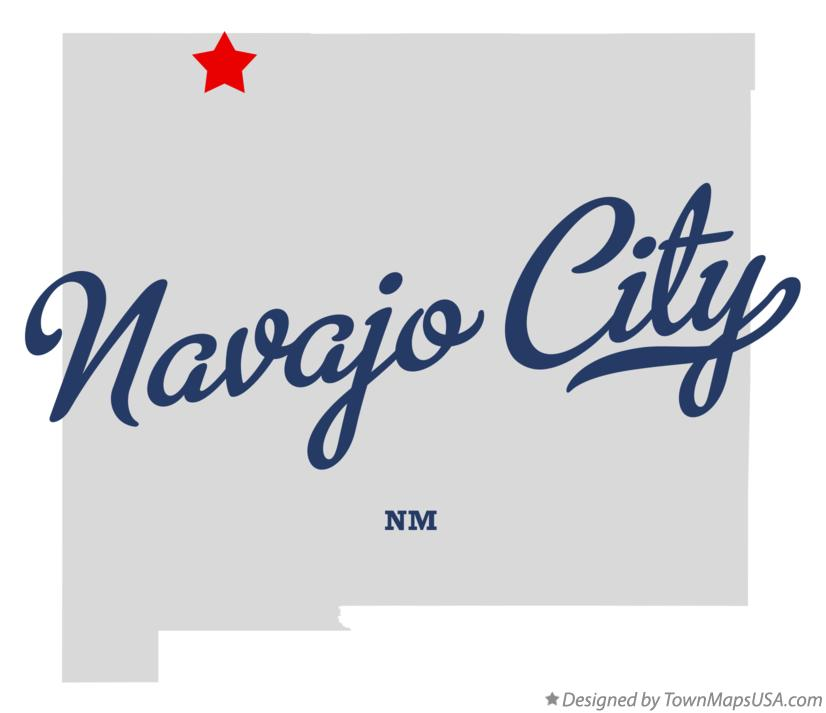 Map of Navajo City New Mexico NM
