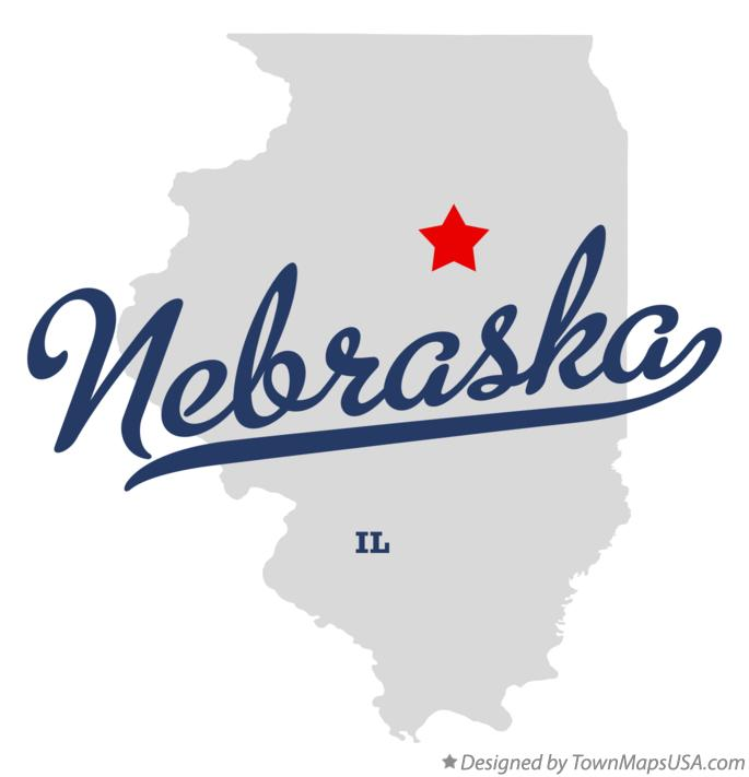 Map of Nebraska Illinois IL