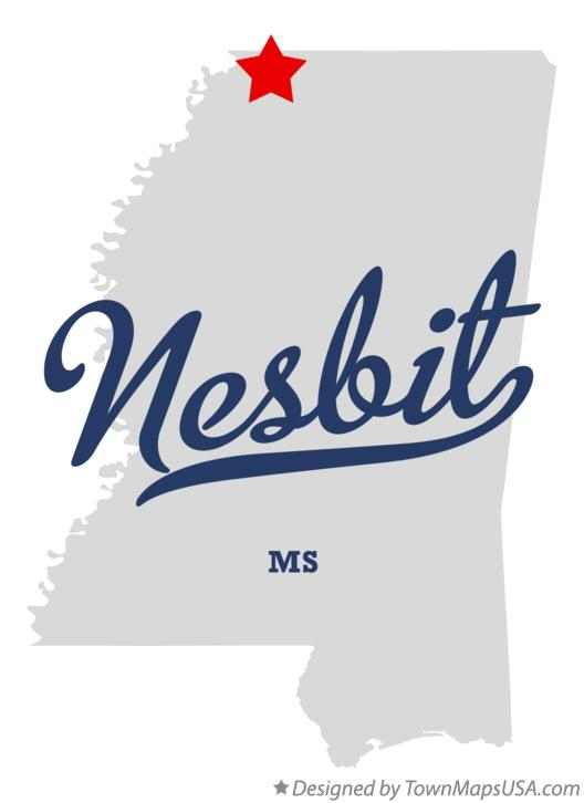 Map of Nesbit Mississippi MS