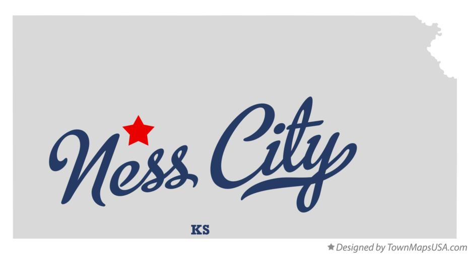 Map of Ness City Kansas KS