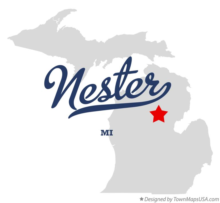 Map of Nester Michigan MI