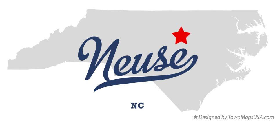 Map of Neuse North Carolina NC