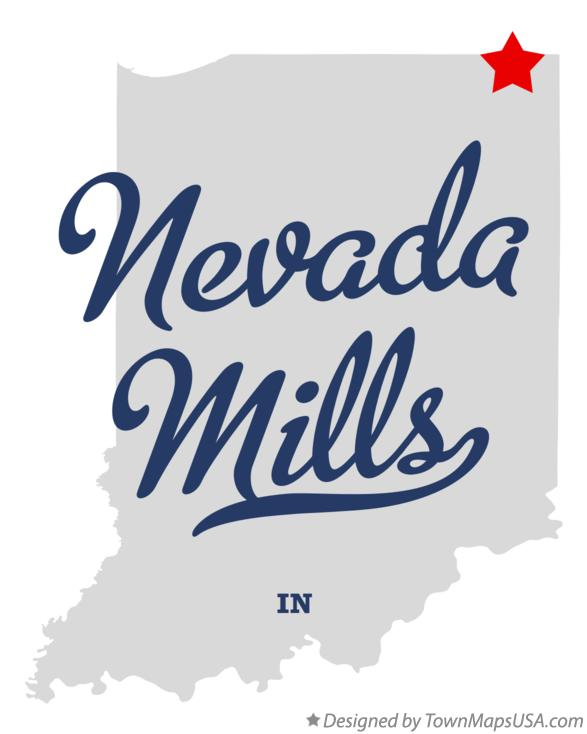 Map of Nevada Mills Indiana IN