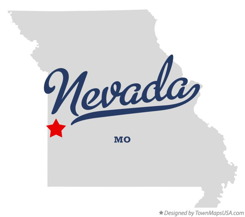 Map of Nevada Missouri MO