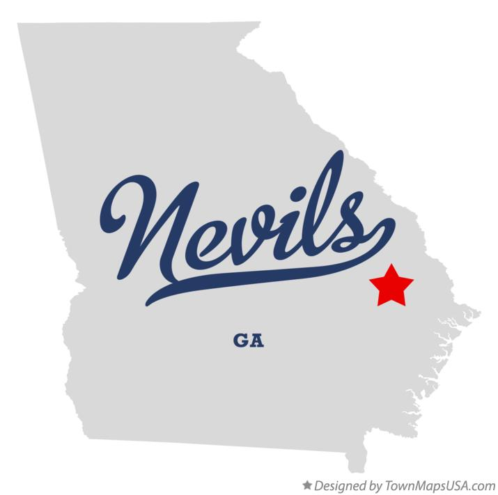 Map of Nevils Georgia GA