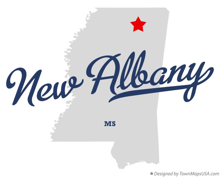 Map of New Albany Mississippi MS