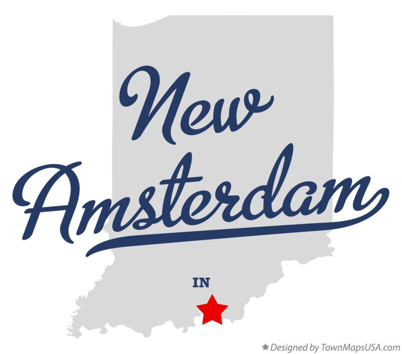Map of New Amsterdam Indiana IN