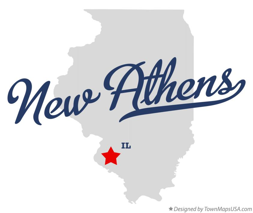 Map of New Athens Illinois IL
