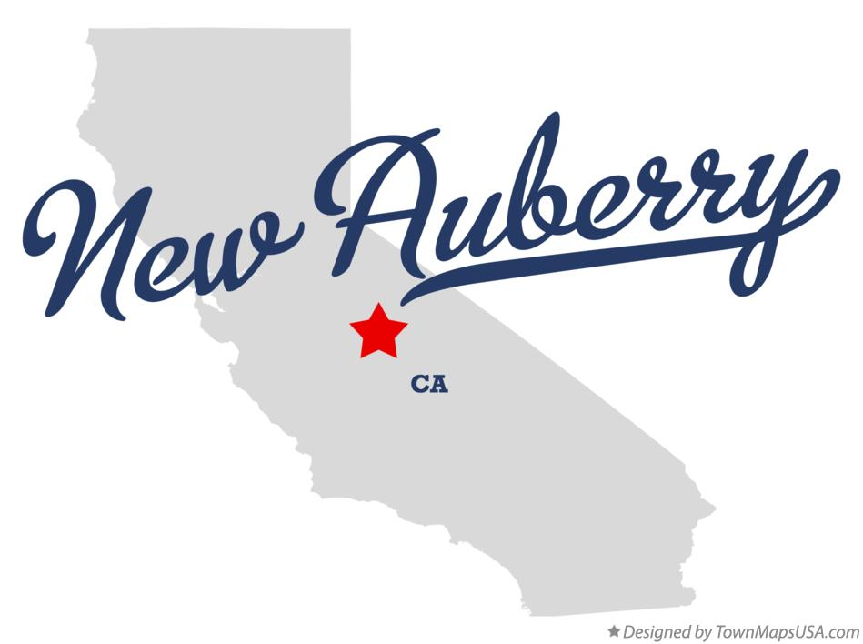 Map of New Auberry California CA