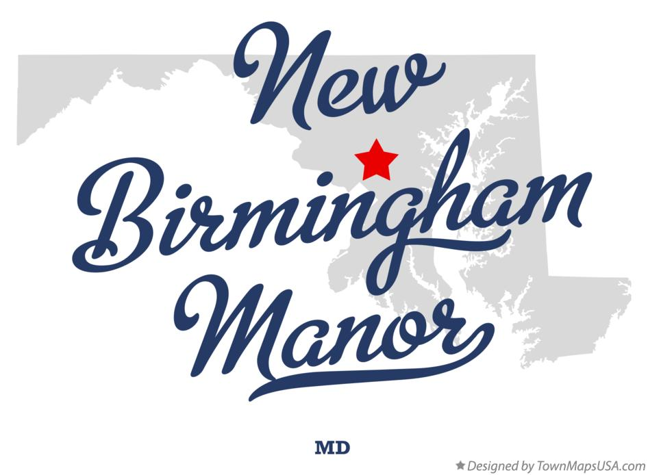 Map of New Birmingham Manor Maryland MD