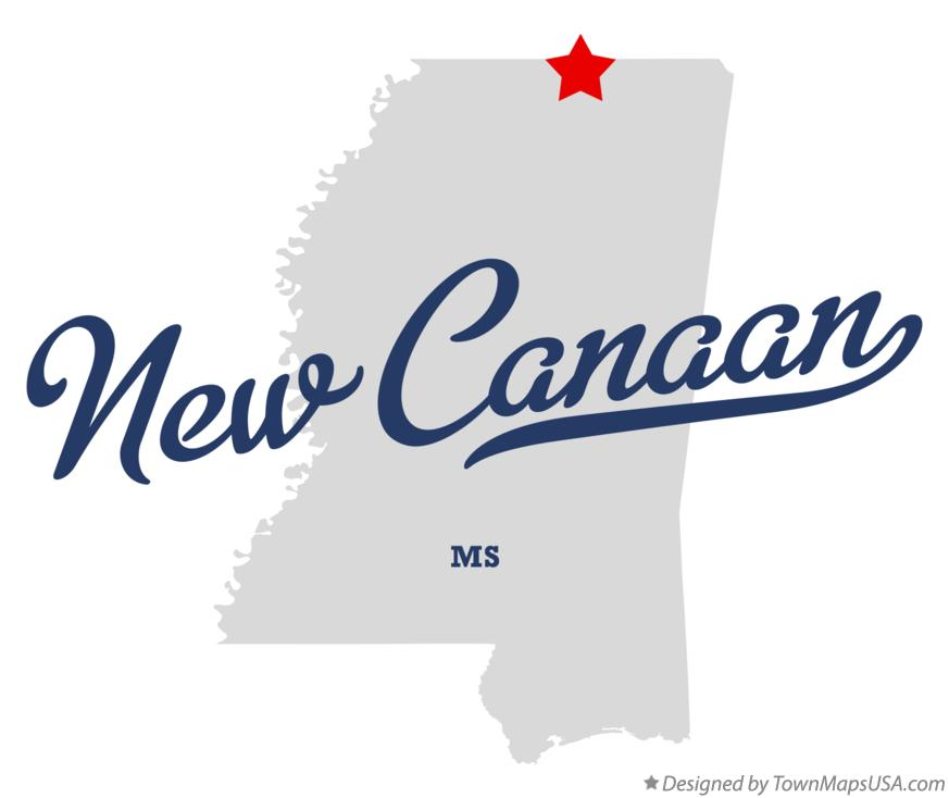 Map of New Canaan Mississippi MS