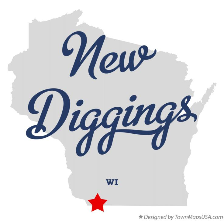 Map of New Diggings Wisconsin WI