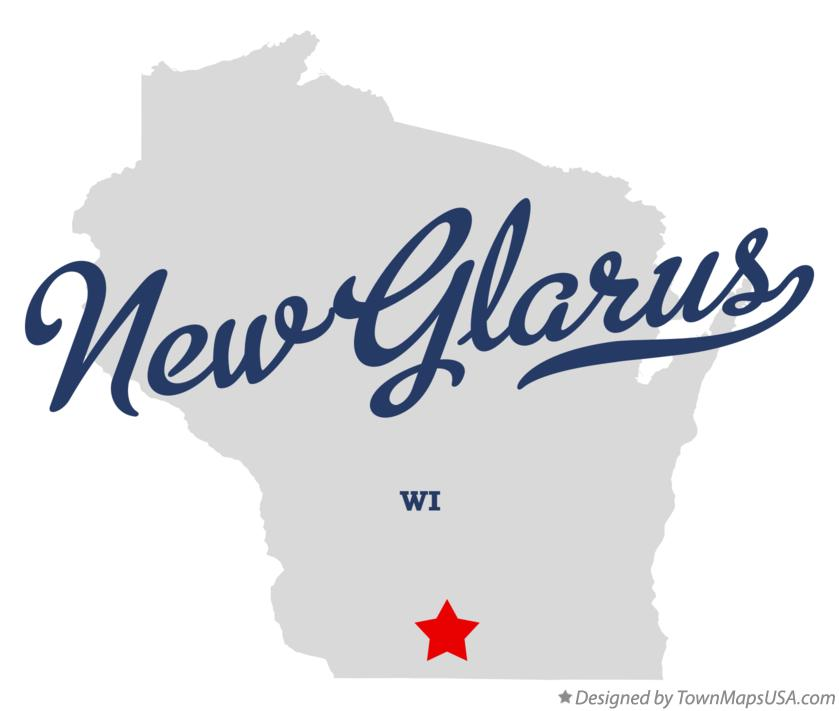 Map of New Glarus Wisconsin WI