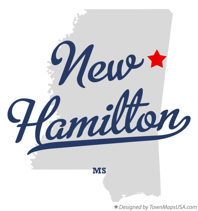 Map of New Hamilton Mississippi MS
