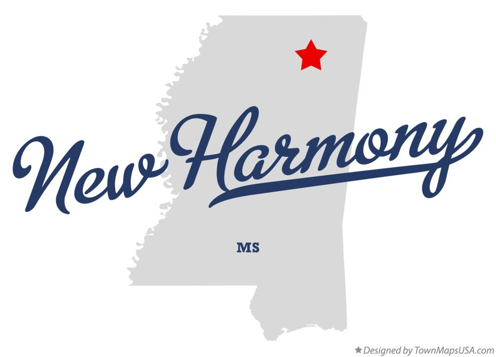 Map of New Harmony Mississippi MS