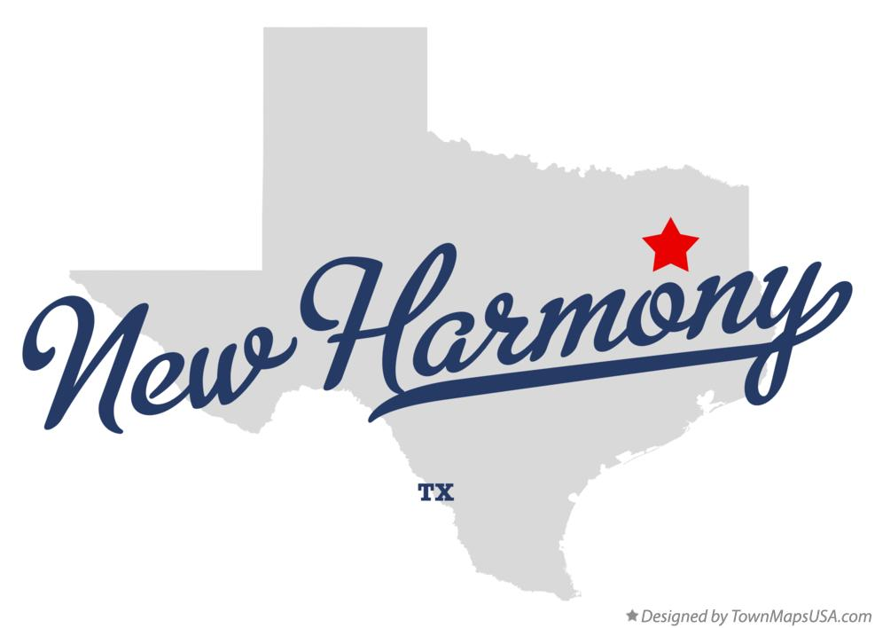Map of New Harmony Texas TX