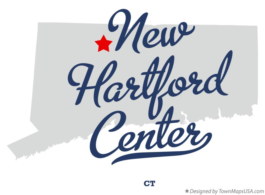 Map of New Hartford Center Connecticut CT