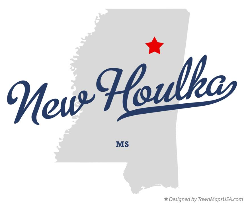 Map of New Houlka Mississippi MS