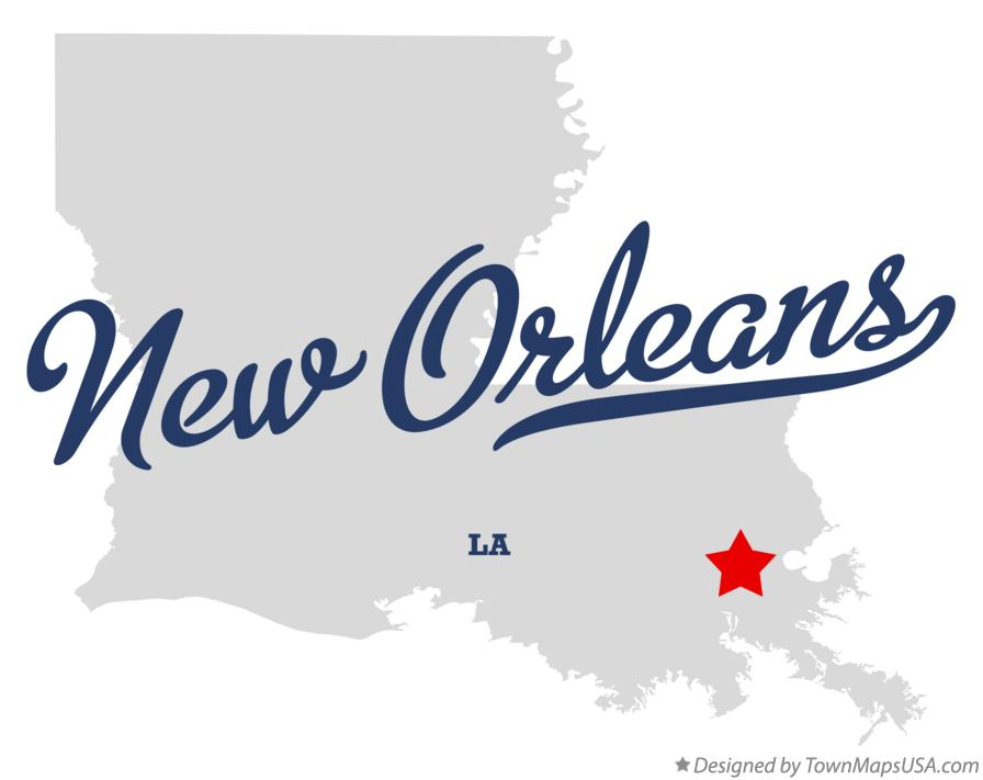 Map of New Orleans Louisiana LA