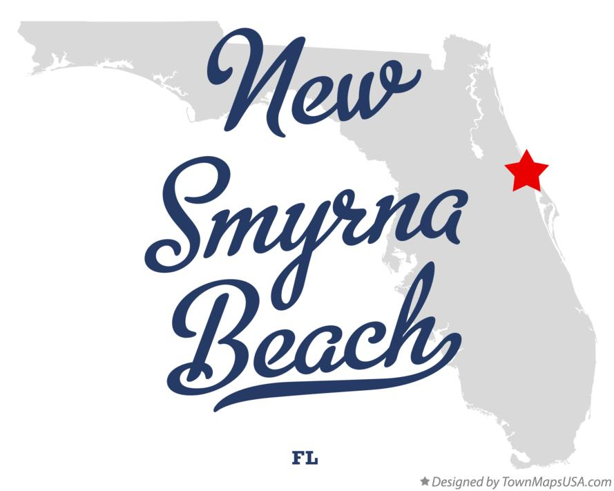 Map of New Smyrna Beach Florida FL