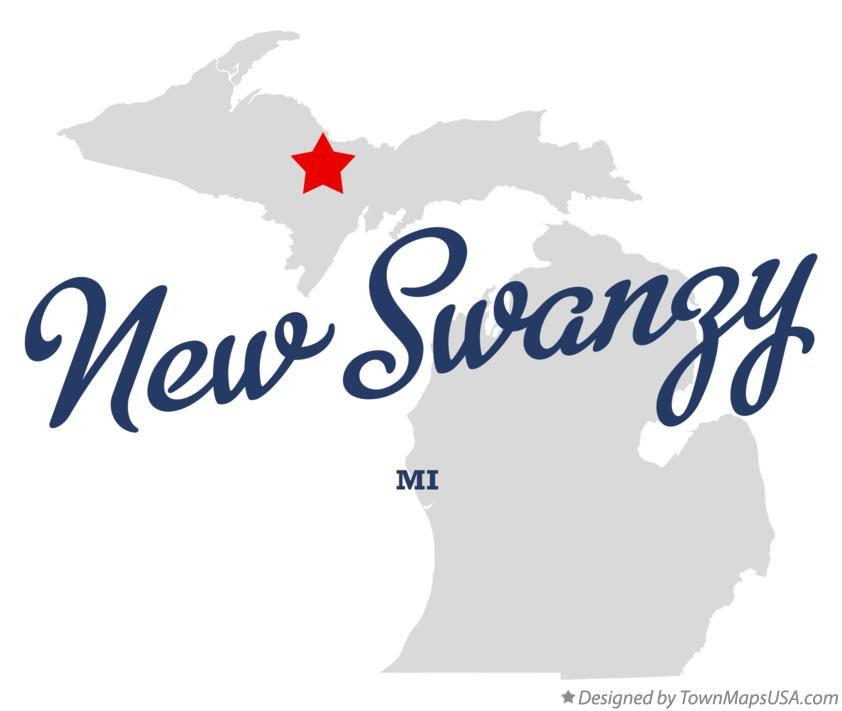 Map of New Swanzy Michigan MI
