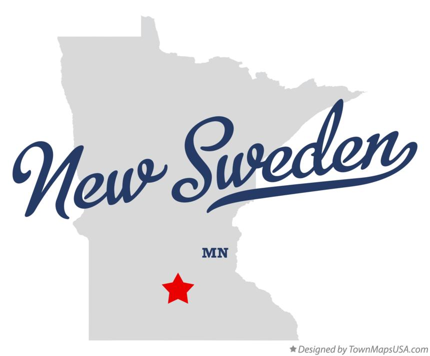 Map of New Sweden Minnesota MN