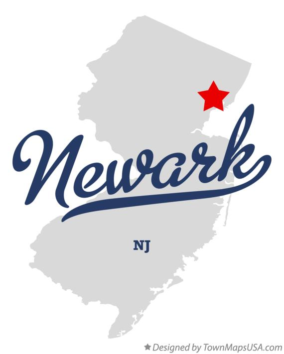 Map of Newark New Jersey NJ