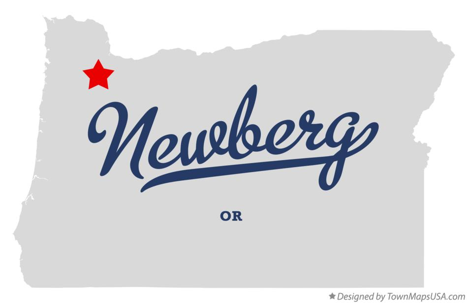 Newberg Oregon OR Map professionally designed by GreatCitees.com.