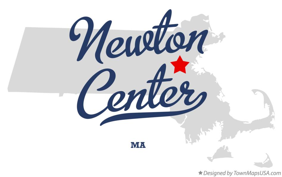 Map of Newton Center Massachusetts MA