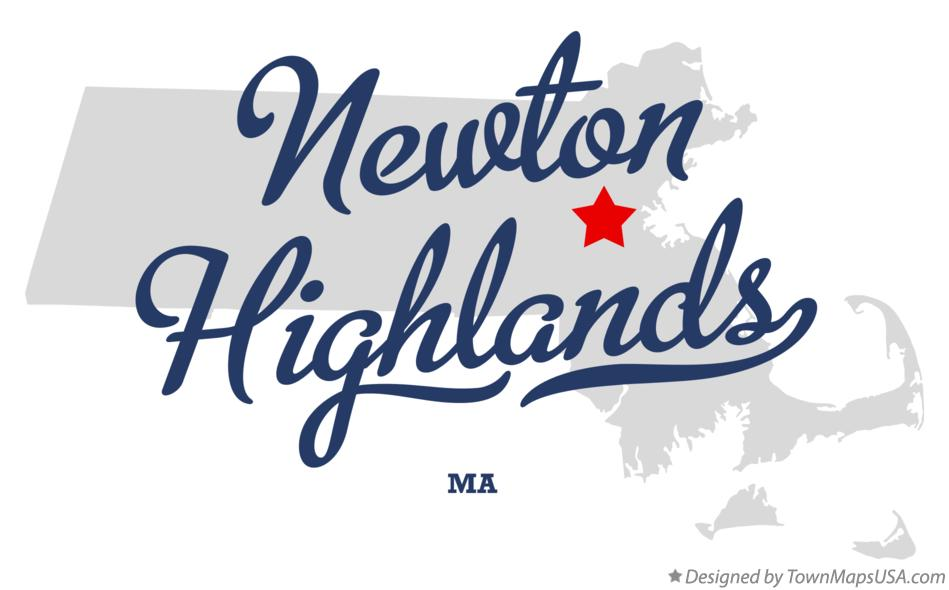 Map of Newton Highlands Massachusetts MA