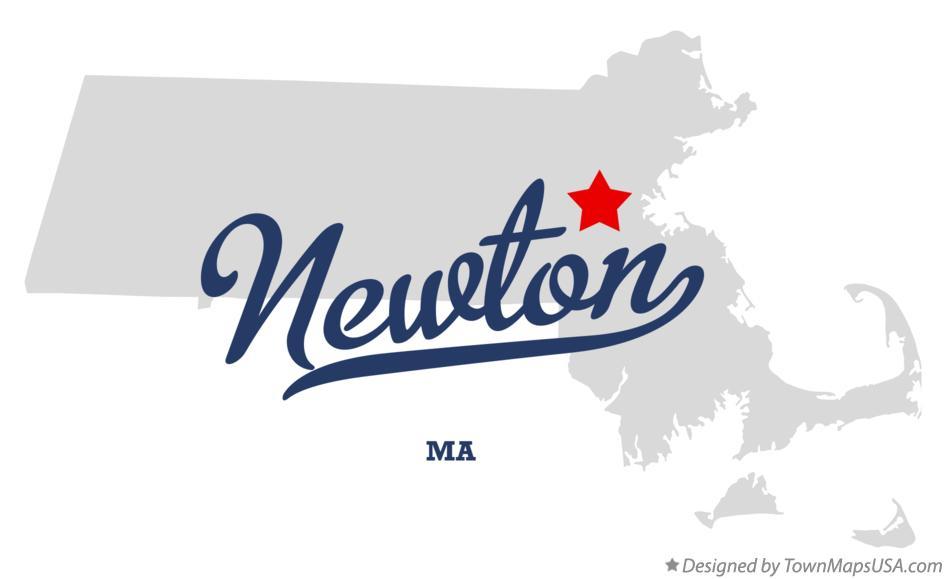 Map of Newton MA Massachusetts