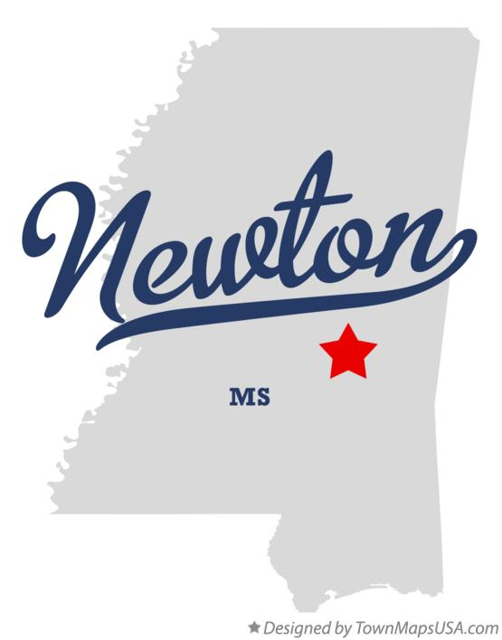 Map of Newton Mississippi MS