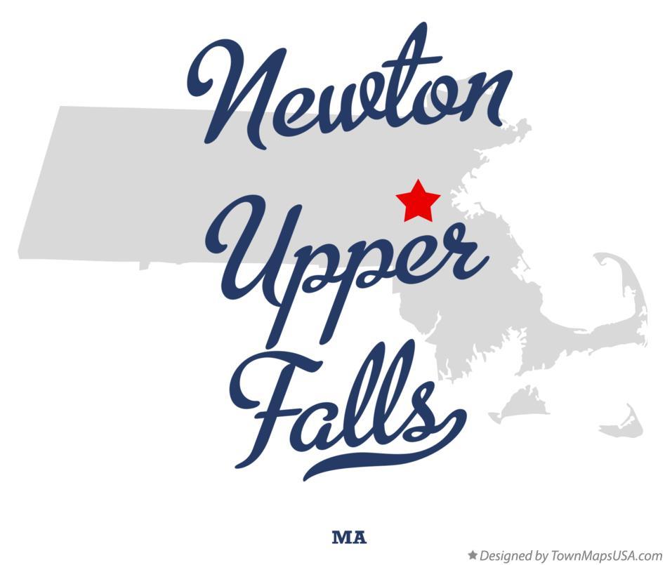 Map of Newton Upper Falls MA Massachusetts