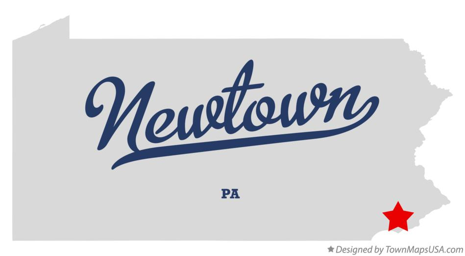 Map of Newtown Pennsylvania PA