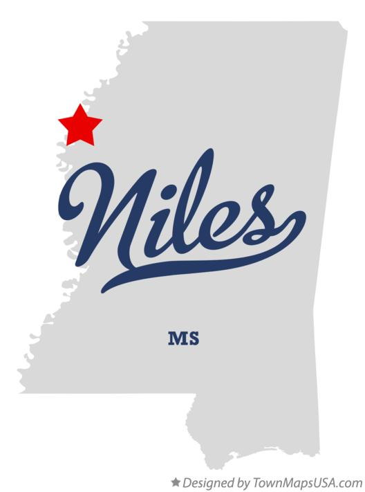 Map of Niles Mississippi MS