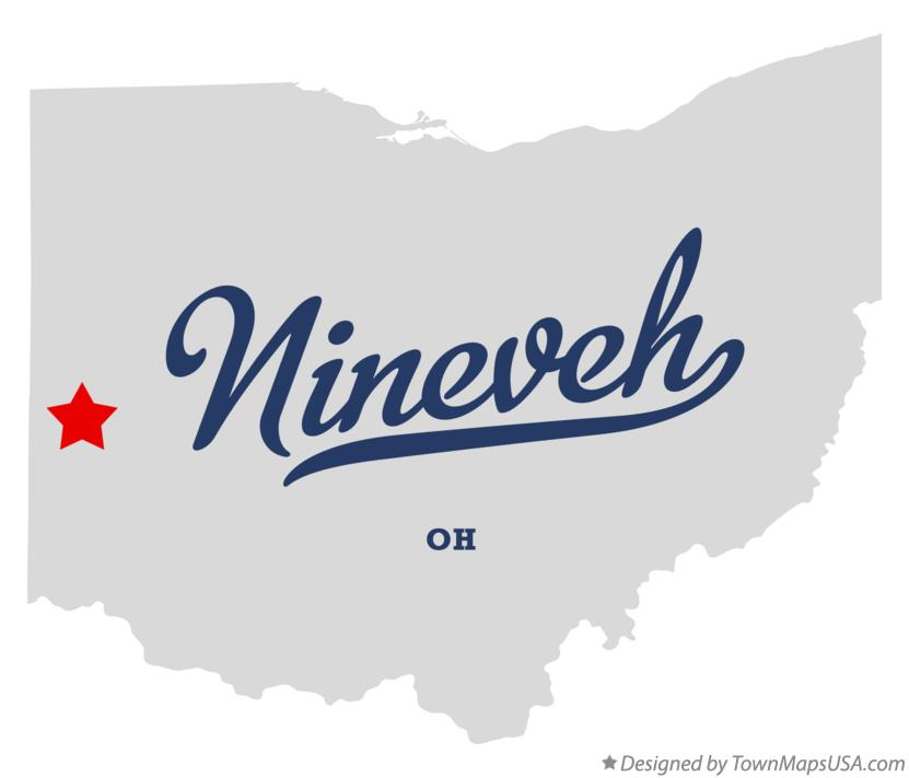 Map of Nineveh Ohio OH